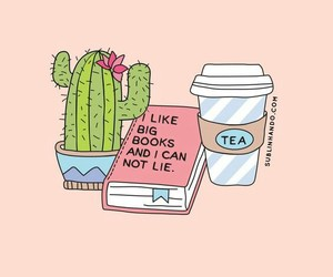 wallpaper, book, and cactus image