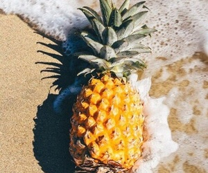 pineapple, beach, and fruit image