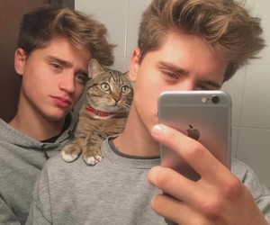 boys, cat, and guy image