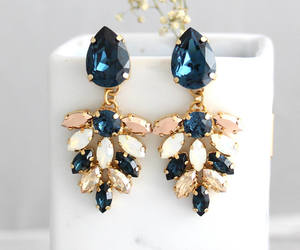 bling, blue, and bridal image