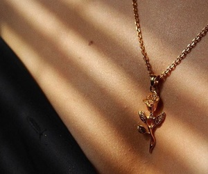 gold, necklace, and rose image