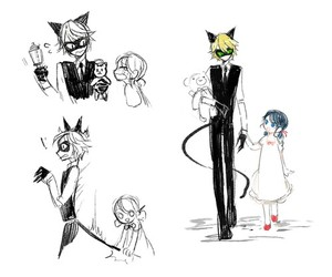 Adrien, Chat Noir, and marinette image