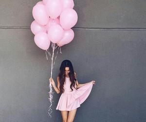 pink, girl, and dress image