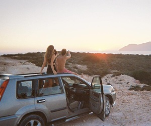 beach, blond, and car image