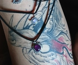 necklace, red, and tattoo image