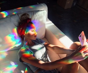 girl, picture, and rainbow image