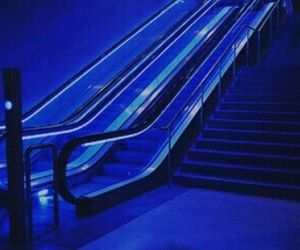 blue, aesthetic, and escalator image