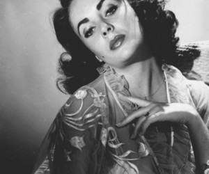 black, black and white, and Elizabeth Taylor image