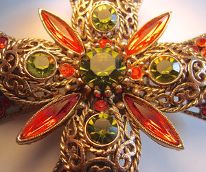etsy, vintage brooch, and cross jewelry image