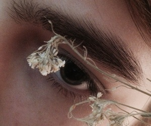 brown, eyes, and flowers image