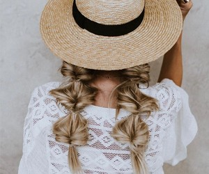 hair, hairstyle, and hat image