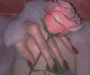 aesthetic, bathtub, and pink rose image