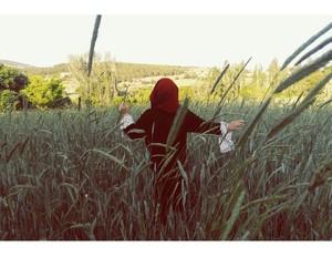 field, girl, and hijab image