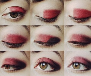 red, diy, and makeup image
