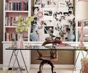 desk, pink, and decor image
