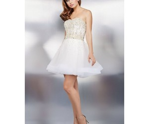 dress, short, and strapless image