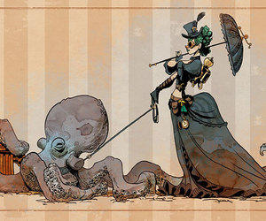 octopus, steampunk, and art image