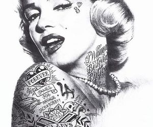 tattoo, Marilyn Monroe, and black and white image