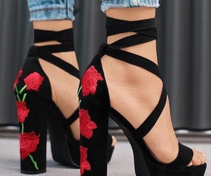 black, black heels, and cute shoes image