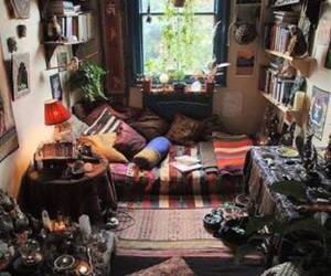 room, bedroom, and hippie image