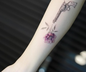 flower, inked, and guns image