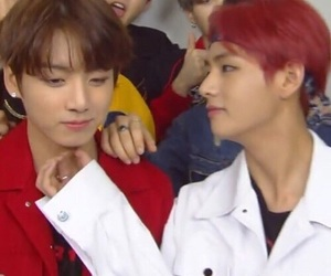 bts, taekook, and red image
