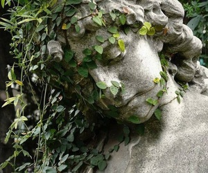 green, plants, and statue image