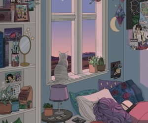 cat, illustration, and aesthetic image