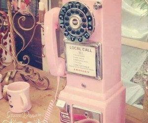pink, retro, and telephone image