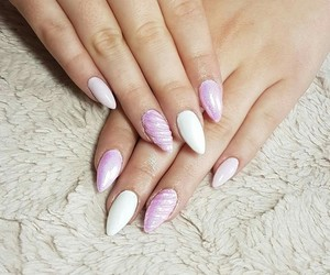 nails, unicorn, and pink&white image