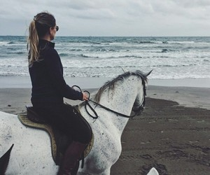 beach, equestrian, and girl image