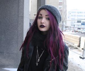 girl, piercing, and purple hair image