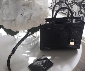 YSL, bag, and flowers image