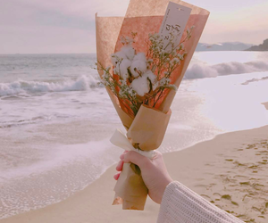 beach, warm, and flowers image