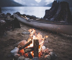 beach, fire, and outdoors image