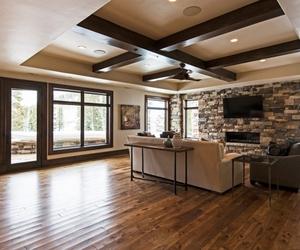 fireplace, sofa, and living room image