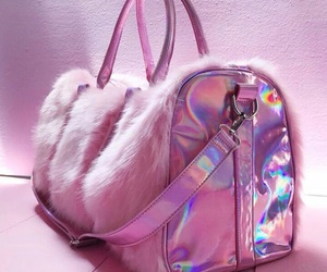 holographic, bag, and pink image