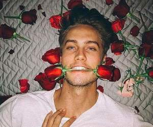 boy, flowers, and man image