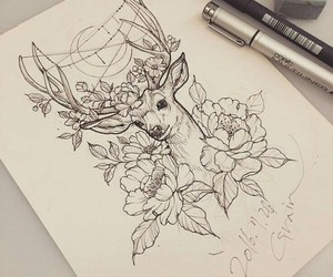 art, tattoo, and deer image