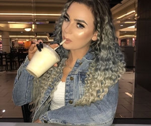 colored hair, curly hair, and denim jacket image