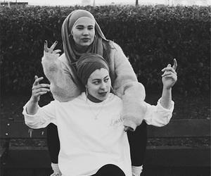 black, hijab, and white image