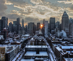 city, photography, and snow image