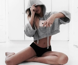 crop, fitness, and gray image
