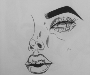 black and white, doodle, and eyes image