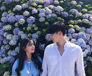 couple, flowers, and korean image