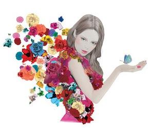 flowers, illustration, and bird image