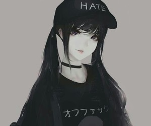 anime, girl, and black image