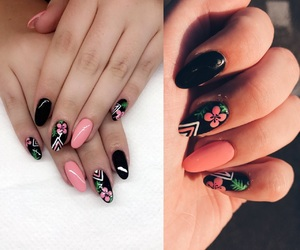 black, summer, and flowers image