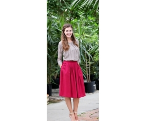 blouse, red skirt, and Full Skirt image