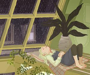 art, rain, and plants image